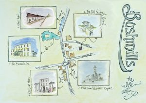 Illustration 'Bushmills Map/Audio Trail' by Gráinne Knox at Inspired by Astrid