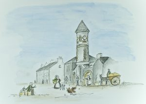Illustration 'The Clock Tower & Market Square' by Gráinne Knox at Inspired by Astrid